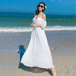Fashion Street - 露肩沙滩裙