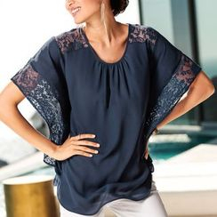 Flobo - Lace-Trim Chiffon Top