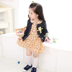 Cuckoo - Kids Set : Bear Cardigan + Floral Print Dress