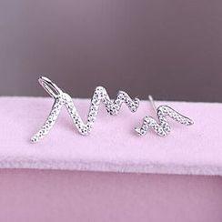 WOQIAO - Non-matching Rhinestone Lightning Earrings