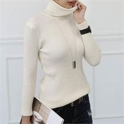 CHICFOX - Turtle-Neck Ribbed Top