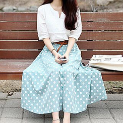 Fashion Street - Set: Elbow-Sleeve Notch Neck Top + Dotted Midi Skirt