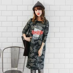 OrangeBear - Camouflage Graphic Pocketed Sweatshirt Dress