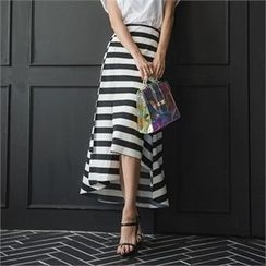 ERANZI - Asymmetric-Hem Striped Long Skirt