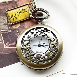 Miss Girl - Engraved Bird Pocket Watch