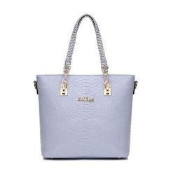 Beloved Bags - 五件套: 仿鱷魚紋皮革手提袋 + 波士頓包 + 肩包 + 手包 + 長款錢包