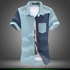 Alvicio - Couple Short-Sleeve Dotted Shirt