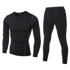 Bay Go Mall - Set: Sports Long-Sleeve T-Shirt + Pants