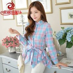 Elisa Rachel - Plaid Asymmetric Hem Long Shirt
