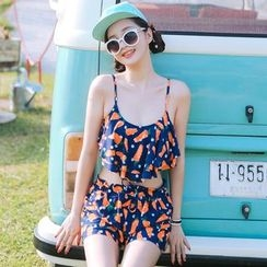 Beach Date - Set: Carrot-Print Bikini + Shorts