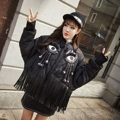 Honeydew - Eye Applique Fringed Padded Coat
