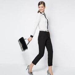 O.SA - Set: Contrast-Trim Blouse + Slim-Fit Pants
