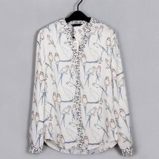 Flower Idea - Long-Sleeve Bird-Print Chiffon Blouse