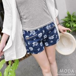 OrangeBear - Denim Rose-Print High-Waist Shorts