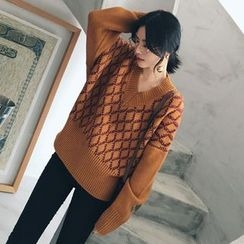 Ashlee - Argyle V-Neck Oversized Sweater