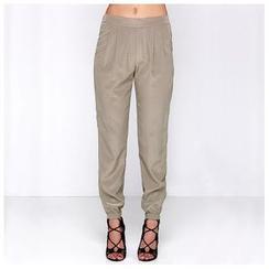 Richcoco - Elastic Waist Baggy Pants