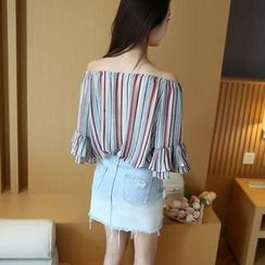 VIZZI - Striped Off-Shoulder Chiffon Blouse