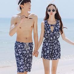 Sewwi - 情侣花纹泳裤 / 套装: 比基尼泳装 + 连体服