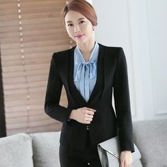 Mija - Set: Tie-Neck Shirt + Blazer + Pencil Skirt / Dress Pants