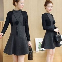 EFO - Long-Sleeve Lace-Panel A-Line Dress