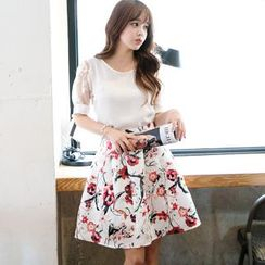 Dowisi - Floral Print Short-Sleeve Dress