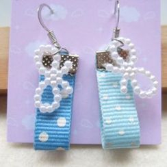 Fit-to-Kill - Hand made Light blue spot cottons with ribbons earrings