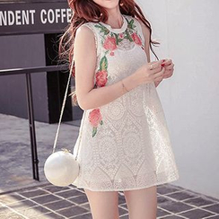 Fashion Street - Set: Flower Embroidered  Lace Tank Dress + Tank dress
