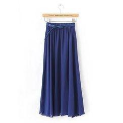 JVL - Belted Maxi Chiffon Skirt