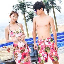 Rita Zita - Set: Floral Print Halter Bikini + Cover-Up