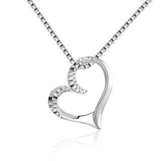 MaBelle - 14K Italian White Gold Polished and Diamond-Cut Hollow Heart Necklace (16'), Women Jewelry in Gift Box