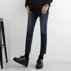 Seoul Homme - Washed Fray-Hem Jeans