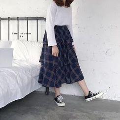 Mango Home - Plaid Tiered Midi Skirt