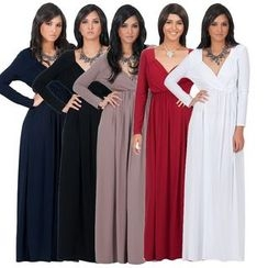 Hotprint - V-Neck Long-Sleeve Maxi Dress