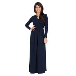 Hotprint - Keyhole Front Long-Sleeve Maxi Dress