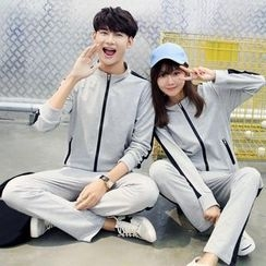 belle epoque - Couple Matching Set: Contrast Trim Zip Jacket + Sweatpants