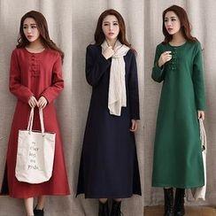 Diosa - Long-Sleeve A-line Midi Dress