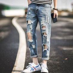 Zeesebon - Distressed Straight Fit Jeans