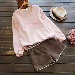YOYO - 皱摺刺绣套衫