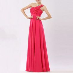 Bridal Workshop - Corsage One Shoulder A-Line Chiffon Evening Gown