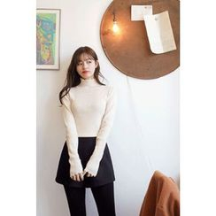 CHERRYKOKO - Mock-Neck Scallop-Edge Knit Top