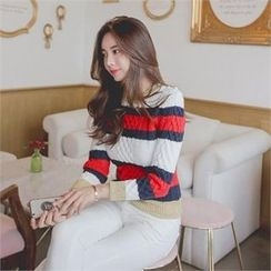 TOM & RABBIT - Color-Block Cable-Knit Top