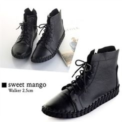 SWEET MANGO - Lace-Up Genuine-Leather Ankle Boots