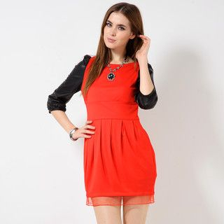 YesStyle Z - Faux-Leather Sleeve Sheer-Hem Dress