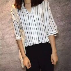 Ranche - Pinstriped Elbow-Sleeve Blouse