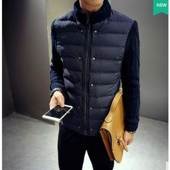 Bestrooy - Cable Knit Sleeve Padded Jacket