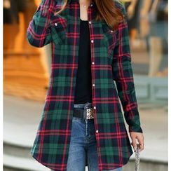 Carreau - Fleece Lined Plaid Long Shirt