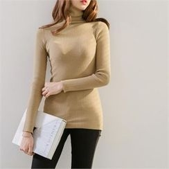 PIPPIN - Turtle-Neck Slim-Fit Rib-Knit Top