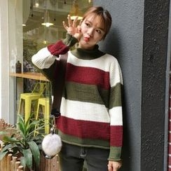 Bloombloom - Mock Neck Striped Chunky Sweater