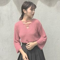CosmoCorner - Bell Sleeve Cutout Knit Top