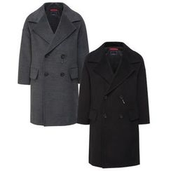 Seoul Homme - Wide-Lapel Double-Breasted Coat